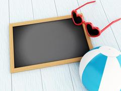 3D Empty blackboard. Travel concept. Stock Illustration