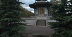 Aerial close up ascending view of the peace pagoda in London Stock Footage
