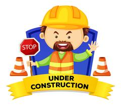 Occupation wordcard with word under construction Stock Illustration