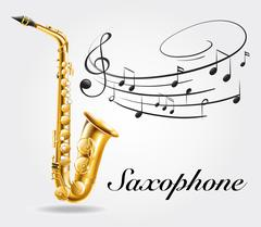 Saxophone and music notes on poster Piirros
