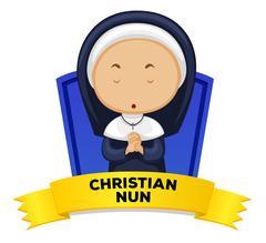 Wordcard with occupation christian nun Stock Illustration