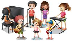 Children playing instruments and sing Stock Illustration