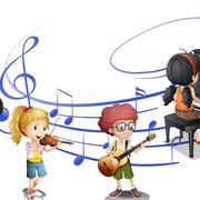 Many kids playing music together Stock Illustration
