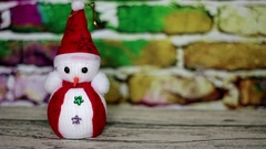 Snowman and picture of the Christmas tree Stock Footage