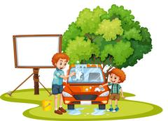 Dad and son washing car on the lawn Stock Illustration