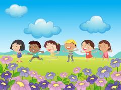 Many kids walking in the park Stock Illustration