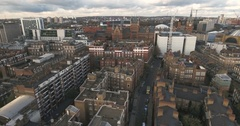Aerial push out view of St Pancras station in central London Stock Footage