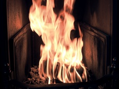 Fire burns in the fireplace Stock Footage