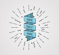 Home sweet . Inspirational illustration, motivational quotes Piirros