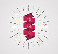 You and me. Color inspirational quotes typographic poster Piirros