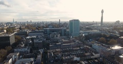 Aerial push out view of the skyline of  central London Stock Footage