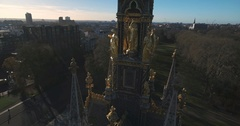 Aerial extreme close up view of the Royal Albert Memorial in London Stock Footage