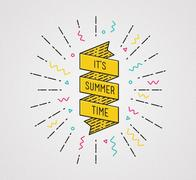 It is summer time. Inspirational illustration, motivational quote Piirros