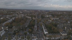 Aerial push out view of a typical Victorian village in North London Stock Footage