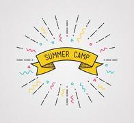 Summer camp poster in flat design. Inspirational  illustration Piirros