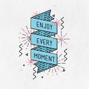 Enjoy every moment Inspirational illustration, motivational quotes Stock Illustration