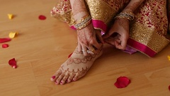 Indian wedding ceremony. mehendi foot Stock Footage