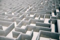 3d illustration cocrete labyrinth, complex problem solving concept Stock Illustration