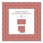 Vintage 3D frame of Red Geometry Cross Polygon Flower Stock Illustration
