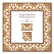 Vintage 3D frame of Red Round Spiral Vine Stock Illustration