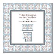 Vintage 3D frame of Fan Shape Cross Flower Stock Illustration