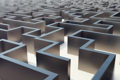 3d illustration cocrete labyrinth, complex problem solving concept Stock Illustration