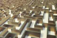 3d illustration gold labyrinth, complex problem solving concept Stock Illustration