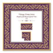 Vintage 3D frame of Purple Gold Royal Spiral Vine Stock Illustration