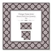 Vintage 3D frame of Brown Check Cross Geometry Stock Illustration