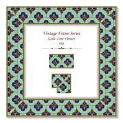 Vintage 3D frame of Green Blue Scale Line Flower Stock Illustration