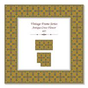 Vintage 3D frame of Antique Brown Cross Flower Stock Illustration