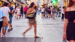 Pedestrian zone in Madrid Stock Footage