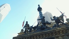 CLEVELAND, DOWNTOWN CIVIL WAR SCULPTURE, CLOSE UP Stock Footage