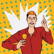 Pop art comic style illustration with man showing lamp Stock Illustration