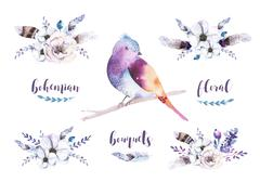 Set of watercolor vintage floral bouquets with feather. Boho spr Stock Illustration