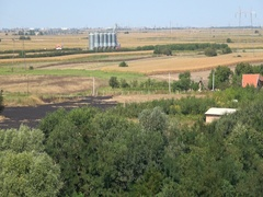 Aerial view silos storage agriculture landscape  Stock Footage