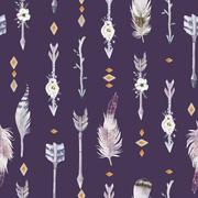 Watercolor boho seamless pattern with teepee, arrows and feather Stock Illustration