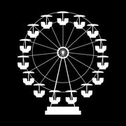 Ferris Wheel Icon Silhouette. Entertainment Round Attraction. Ve Stock Illustration