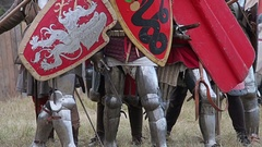 Knight battle drawing swords and shields Stock Footage