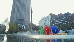 CLEVELAND - DOWNTOWN FOUNTAIN WITH SNAIL -FROG SCULPTURES Stock Footage