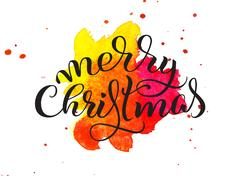 Abstract background red tone and the text of Merry Christmas. Lettering Stock Photos