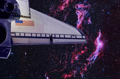 Space Shuttle and Veil Nebula. Stock Photos