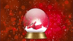 Snowglobe animation with gift inside on a red background Stock Footage