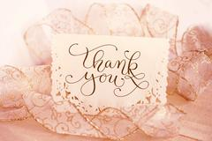 Greeting card for the holiday with text Thank you. Calligraphy lettering Stock Photos