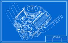 Hot rod V8 Engine drawing Stock Illustration