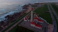 Establishing aerial shot lighthouse,oil refining. Portugal Stock Footage
