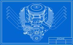 Hot rod V8 Engine drawing Stock Illustration