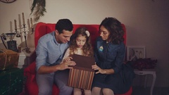 Happy family open christmas present, parents shocked. Concept of gift. Stock Footage