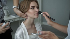 Bride doing makeup and hair style rule Stock Footage
