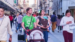 Crowded pedestrian zone in Madrid Stock Footage